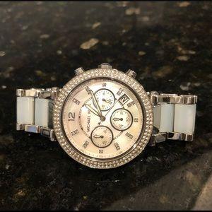 Michael Kors chronograph light blue watch perfect!